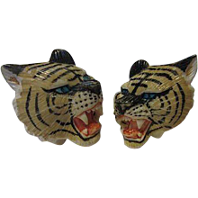 Rare Japanese Hand Carved Painted Asian Tiger Figural  Vintage Cufflinks and Tie Tack