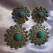 Striking Signed Dangling Fx Turquoise Gold plate Statement Vintage Earrings Convertible
