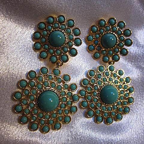 Striking Signed Dangling Fx Turquoise Gold plate Statement Vintage Earrings Convertible Pierced Clip