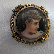 Victorian Hand Painted Miniature Portrait Brooch Pin