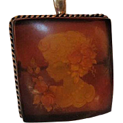 Fabulous Sterling Silver Reverse Carved Amber Cameo Vintage Brooch Pin Pendant