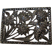 Sparkling Art Deco Sterling Silver Marcasite Window Box Flowers Vintage Brooch Pin