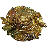 Signed Kirks Folly Summer Breeze Fancy Bonnet Brooch Crystals Dragonfly Flowers Vintage Brooch Pin