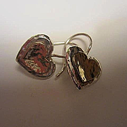 Signed Talma Keshet 14K Gold Sterling Silver Hand Made Vintage Heart Love Earrings 925 585