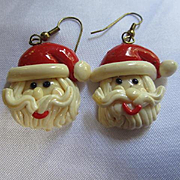Fabulous Hand Made Polymer Clay Glazed Santa Claus Vintage Earrings
