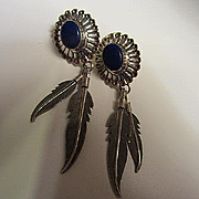 Signed Southwestern Sterling Silver Lapis Dangling Feathers Vintage Pierced Earrings.