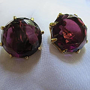 Fabulous Huge Deep Purple Amethyst Fully Faceted Glass Prong Set Gold Plate Vintage Clip Earrings