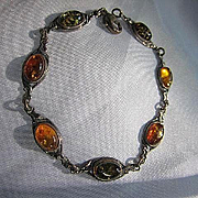 Genuine Baltic Amber Sterling Silver Green Dark Lighter Three Colors Dainty Vintage Bracelet Marked 925