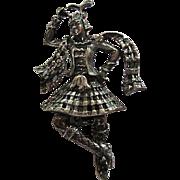 Vintage Walter Lampl Sterling Silver Scottish Ethnic Kilt Bagpipe Player Dancer Figural Vintage Brooch Pin