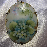 Gorgeous Victorian Hand Painted Blue Bells or Forget Me Nots Oval Porcelain C Clasp Safety Chain Pin Vintage Brooch Pin