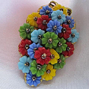 Multi Colored Glass Flowers Hand Wired Vintage Dress Clip