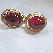 Fabulous Ruby Red High Domed Glass Cabochons Modernist Vintage Cufflinks