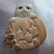 Signed Lenox Adorable Cat in Pumpkin  Original Box Certificate of Authenticity Vintage Halloween Brooch Pin