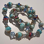 Gorgeous Bicone AB Crystals Fabulous Art Glass Rare Shape 1940s Vintage Necklace