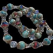 Gorgeous Bicone AB Crystals Fabulous Art Glass Rare Shape 1940s Vintage Necklace