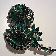 Incredible Rare Huge Delizza and Elster Juliana Emerald Green Molded Art Glass Navettes Flower Figural Vintage Brooch Pin