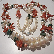 Fabulous Double Strand Genuine Pearls Coral Turquoise Sterling Silver Clasp Vintage Necklace