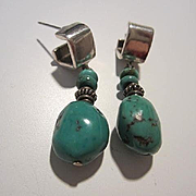 Gorgeous Turquoise Sterling Silver Modernist Vintage Post Earrings Signed 925