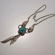 Signed Richard Begay RB Native American Turquoise Sterling Silver Feathers Vintage Necklace