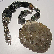 Fabulous Huge Carved Chinese Jade Pendant Onyx Jade Pearl Sterling Silver Vintage Necklace