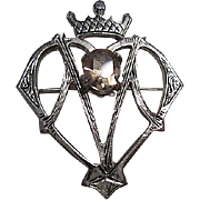 Scottish Sterling Silver Luckenbooth Love Token  Vintage Brooch Pin