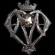 Scottish Sterling Silver Luckenbooth Love Token  Vintage Brooch Pin