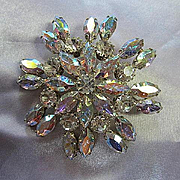 Gorgeous DE Juliana AB Sparkling  Vintage Statement Brooch Pin