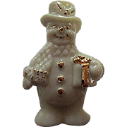 Signed Lenox Adorable Snowman with Present Original Box Vintage Halloween Brooch Pin