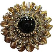 Amazing Czech Hand Wired Clear Austrian Navette Swarovski Crystals Black Cabochon Vintage Brooch Pin