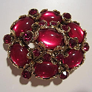 Magnificent Signed Hollycraft Red Ruby Cabochon Groipox Regal Statement Vintage Brooch Pin Pendant