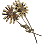 Huge Signed BSK Double Enamel Flowers AB Pave Centers Long Stemmed Vintage Brooch Pin