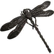 Gorgeous Art Deco Sterling Silver Marcasite Dragonfly Figural Signed Vintage Brooch Pin
