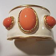 Fabulous Kenneth Lane Signed Coral Lucite Cabochon White Enamel Wide Vintage Statement Bracelet