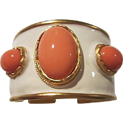 Fabulous Kenneth Lane Signed Coral Lucite Cabochon White Enamel Wide Vintage Statement Bracelet