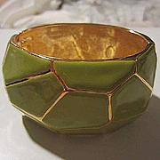Fabulous Kenneth Lane Signed Moss Green Enamel Gold Plate Wide Statement Mosaic Design Modernist Vintage Bracelet