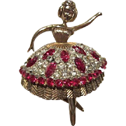 Gorgeous Signed JJ Jonette Rare Rhinestone Ballerina Vintage Brooch Pin