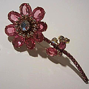 Spectacular Raspberry Pink Swarovski Crystals AB center Sparkling Flower Figural Vintage Brooch Pin
