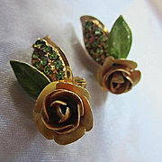 Gorgeous Hobe Signed Enamel Flower Crystal Rhinestone Vintage Clip Earrings