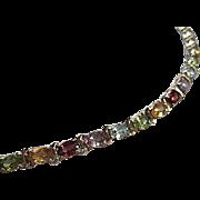 Beautiful Sterling Silver Oval Faceted Gem Stones Vintage Line Bracelet