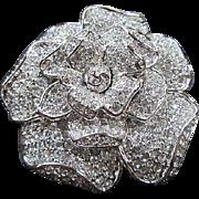 Gorgeous Signed Nolan Miller The Barbara Stanwyck Gardenia Flower Sparkling Pave Swarovski Crystals Vintage Brooch Pin