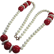 Stunning 1960s Red White Lucite Statement Long 32 inch Beads and Disks Vintage Necklace Mint