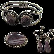 Beautiful Scottish Banded Purple Amethyst Agate Bracelet Sterling Silver Brooch Pin Pendant Earrings Vintage Married Set