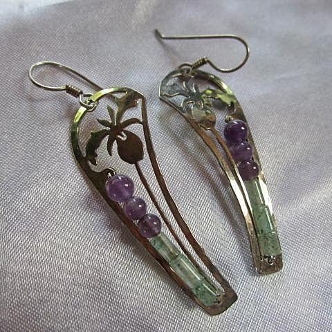 Stunning Wild Bryde Signed Iris Amethyst Jade Sterling Silver Vintage Earrings