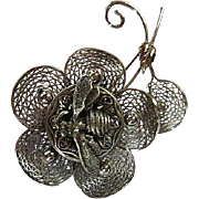 Fabulous Bee on Flower Filigree Sterling Silver Figural Vintage Brooch Pin