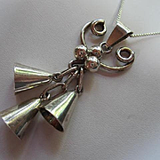 Fabulous Taxco Mexico Signed Sterling Silver Triple Bell Chimes Vintage Pendant Necklace