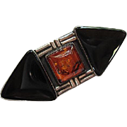 Incredible Art Deco Amber Onyx Sterling Silver Vintage Brooch Pin