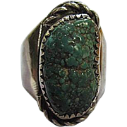 Native American Southwestern Huge Natural Turquoise Nugget Hand Made Sterling Silver Vintage Ring Unisex