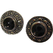 Classic Lovely Sterling Silver Onyx Marcasite Round Vintage Post Earrings