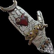 Rare Signed Thomas Mann Techno Romantic Hand Heart Rabbit Moon Modernist Mixed Metals Hand Made Vintage Brooch Pin