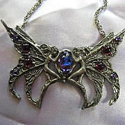 Signed Fellowship Foundry Hand Forged Pewter Blue Double Fairy Art Nouveau Style Vintage Necklace